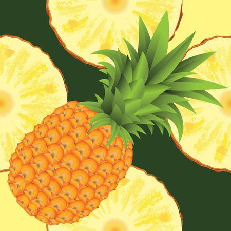 pineapple slice: seamless pattern of ripe yellow pineapple and slice of pineapple