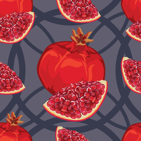 garnet: seamless pattern of ripe red garnet and garnet slices with seeds