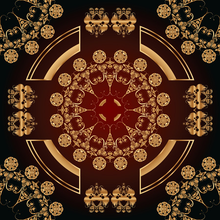 floral ornaments: abstract seamless pattern with golden floral ornaments on a red and black background