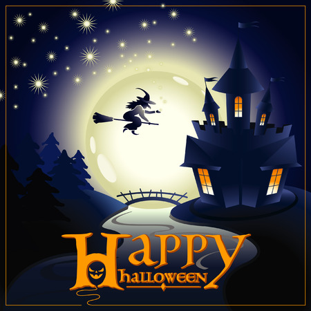 cielo estrellado: inscription congratulation Happy Halloween with a picture of castle and forests, moon in the night, starry sky, river bridge and flying on broomstick witch Vectores