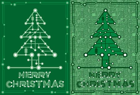 postcard background: set two banners of green spruce with computer and motherboard elements for technology concept