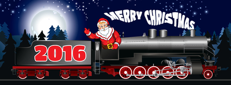 banner of a illustration of Santa Claus on a steam locomotive with congratulation Merry Christmas