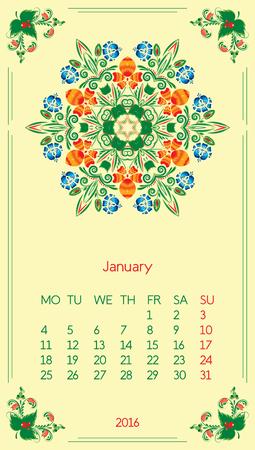 Calendar 2016. Template for month January. Vintage decorative elements in style ukrainian folk ornament.
