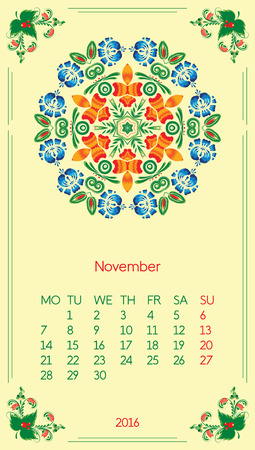 Calendar 2016. Template for month November. Vintage decorative elements in style ukrainian folk ornament. Ilustrace