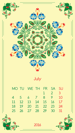 Calendar 2016. Template for month July. Vintage decorative elements in style ukrainian folk ornament. Ilustrace