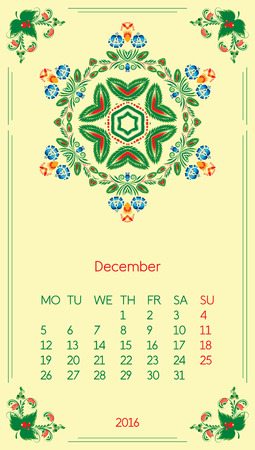 Calendar 2016. Template for month December. Vintage decorative elements in style ukrainian folk ornament.