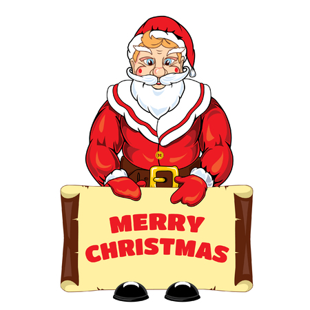 Vector illustration of Santa Claus with a banner with an congratulation Merry Christmas