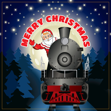 christmas train: banner of a illustration of Santa Claus on a steam locomotive with congratulation Merry Christmas