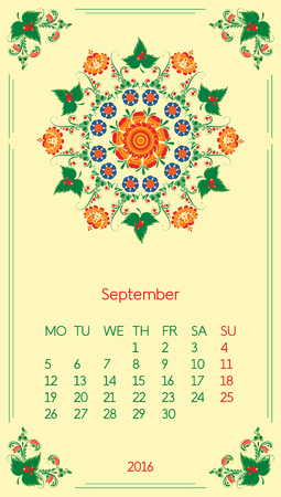 Calendar 2016. Template for month September. Vintage decorative elements in style ukrainian folk ornament.