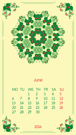 Calendar 2016. Template for month June. Vintage decorative elements in style ukrainian folk ornament. Ilustrace