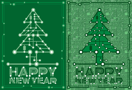 set two banners of green spruce with computer and motherboard elements for technology concept
