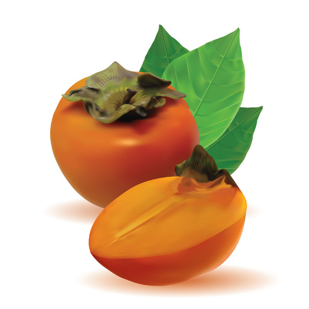 persimmon: persimmon with leaves and half persimmon