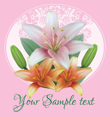 Greeting or invitation card with bouquet flowers of lilies with buds on the background of floral ornament and green leaf. Vector illustration Ilustracja