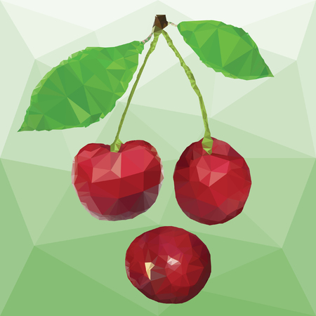 Ripe red berries cherry with leaves isolated on a abstract background from triangles