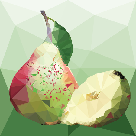 pear with green leaves and half pear on a abstract background from triangles
