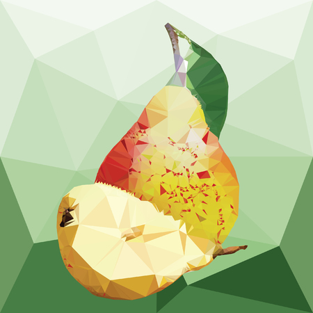 Big yellow pear with green leaves and half pear on a abstract background from triangles