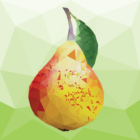 yellow pear with green leaves on a abstract background from triangles