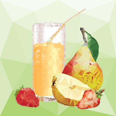 glass with juice and yellow pear with leaf and half of pear, ripe strawberry and slice of strawberry on a abstract background from triangles Ilustrace