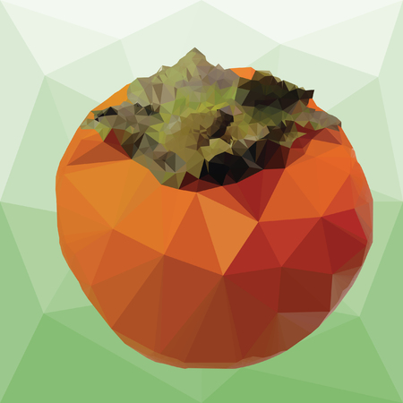 persimmon with leaves on a abstract background from triangles Ilustrace