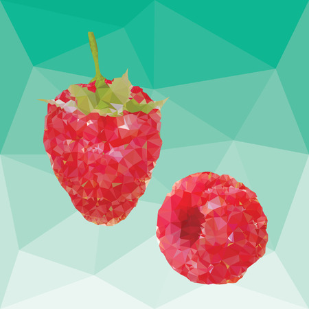 red ripe fresh raspberries on a abstract background from triangles Ilustrace