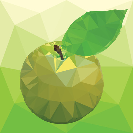 illustration ripe apple green color with leaves isolated on a abstract background from triangles Ilustrace