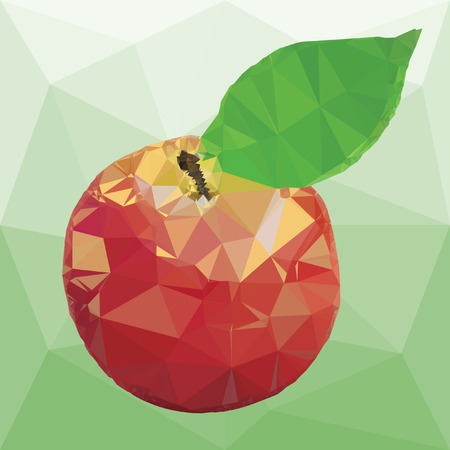 illustration ripe apple red color with leaves isolated on a abstract background from triangles Ilustracja
