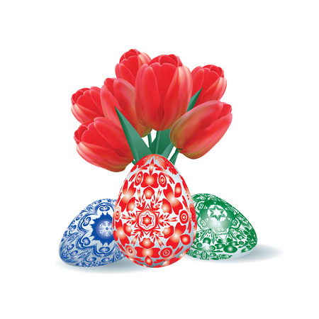 bouquet of red tulips and set of Easter eggs on a white background