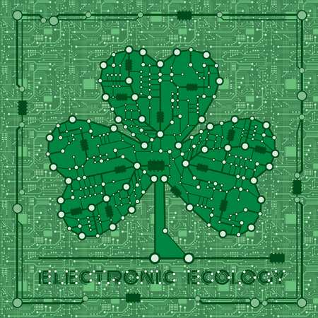 banner from abstract drawing in form shamrock clover with elements computer and motherboard for holiday st patricks day