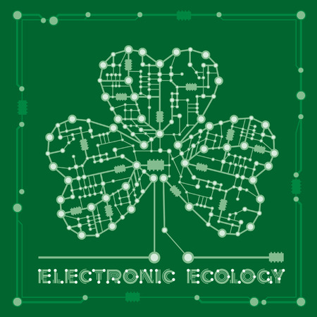 banner from abstract drawing in form shamrock clover with elements computer and motherboard for holiday st patrick's day Ilustracja