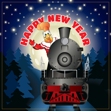 banner of a illustration of rooster in clothing Santa Claus on a steam locomotive with congratulation Happy New Year Illustration