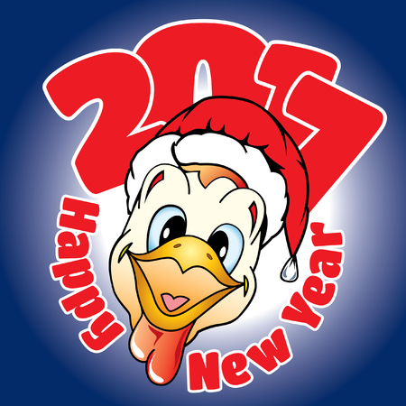card with congratulation on a New Year in cartoon style in the form of a rooster head in hat Santa Ilustrace