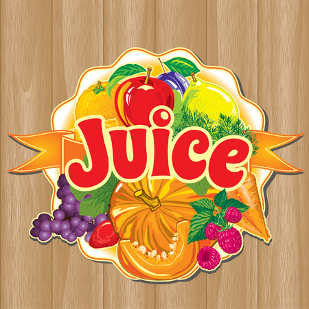 template for label of juice from the fruits and vegetables against the background of the wooden planks