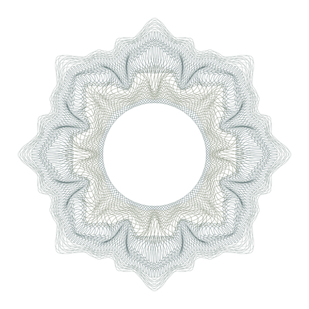 Guilloche decorative element for design certificate, diploma and bank note on a white background. Ilustrace
