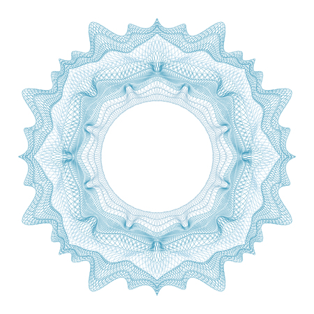 Guilloche decorative element for design certificate, diploma and bank note on a white background. Ilustracja
