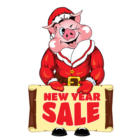 Vector Illustration of a Santa Claus with a New Year Sale