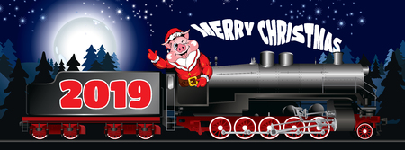 greeting card on the steam locomotive with congratulation Ilustrace