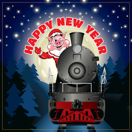 Santa Claus on a steam locomotive with congratulation