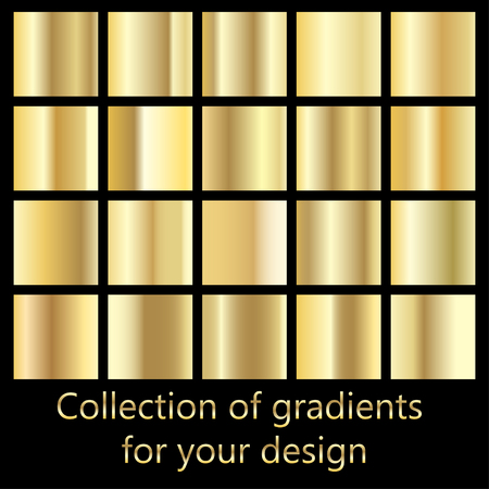 Collection of golden gradient backgrounds. Set of metallic textures. Set of colors for design,collection of high quality gradients.Metallic texture,shiny background.