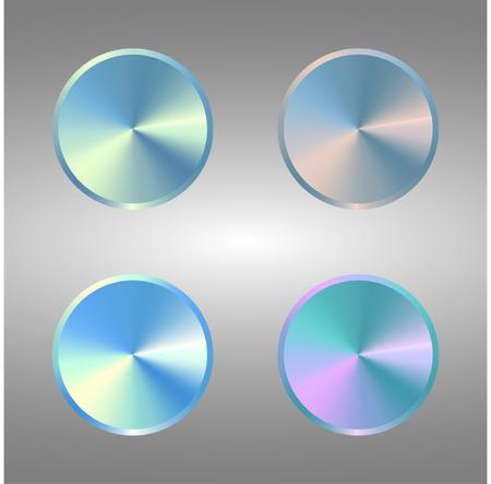 Four Volume Control Dial Button. Set of metal blue buttons.