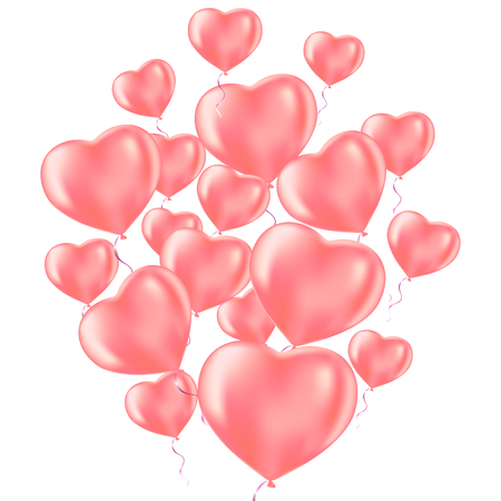 Happy Valentines Day celebration. Frosted party balloons for event design. Party decorations for birthday, anniversary, celebration. Balloons in the shape of heart. Illustration