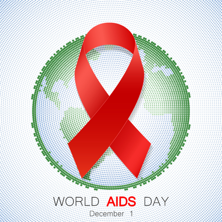 aids awareness ribbon: World aids day symbol, realistic red ribbon, 1 december. World Aids Day concept with text