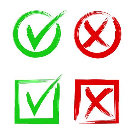 Señal y signos cruzados. Sí, sí y no, acepte o rechace botones de vectores de símbolos.