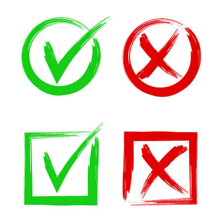 Tik en kruis borden. Symbolen Ja en Nee, symboolvectorknoppen accepteren of weigeren.