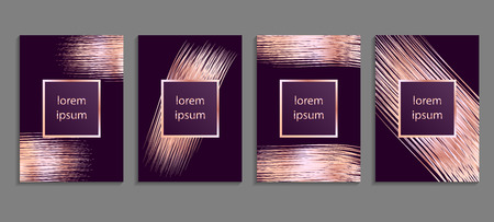 Set of luxury ultraviolet cover templates. Vector violet cover design for placards, banners, flyers, presentations and cards 矢量图像