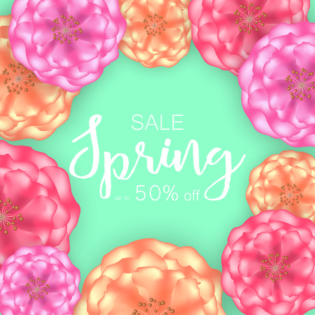 Spring sale banner background with beautiful flowers. Vector illustration.