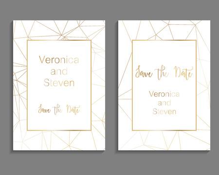 Satz Luxusabdeckungsschablonen. Vektor-Cover-Design für Hochzeitseinladung, Plakate, Banner, Flyer, Präsentationen und Visitenkarten