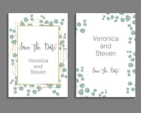 Huwelijksuitnodiging, bladeren nodigen kaart uit. Ontwerp met eucalyptustak