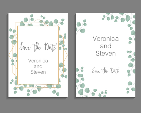 Wedding Invitation, leaves invite card. Design with eucalyptus branch