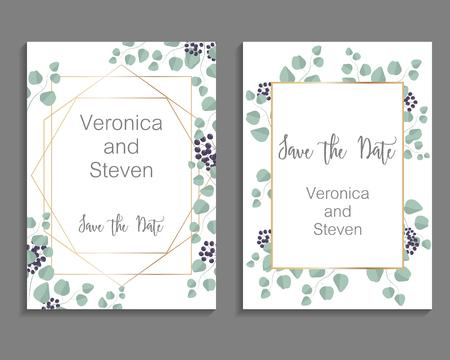 Wedding Invitation, leaves invite card. Design with eucalyptus branches and viburnum tinus  イラスト・ベクター素材