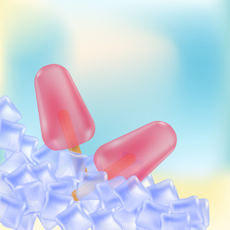 Fruity ice lollies with ice cubes background
